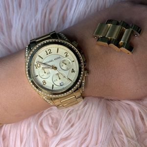 Gold Micheal kors watch with diamonds